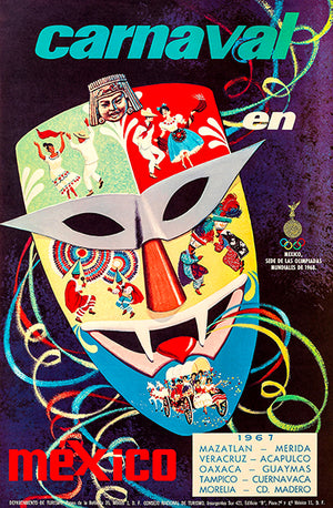Carnival In Mexico - 1967 - Travel Poster Magnet