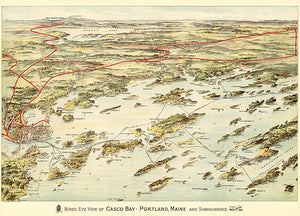 Casco Bay, Portland, Maine - 1906 - Aerial Bird's Eye View Map Poster