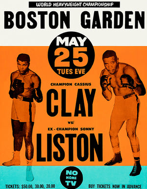 Cassius Clay vs Sonny Liston - 1965 - Fight Promotional Advertising Poster