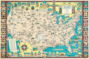 Catholic America - Contribution In USA - 1492 To 1946 - Pictorial Map Poster