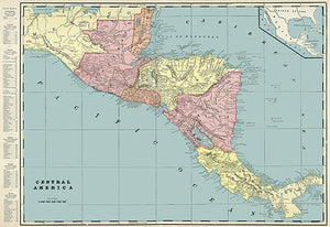 Central America - 1901 - Map Poster