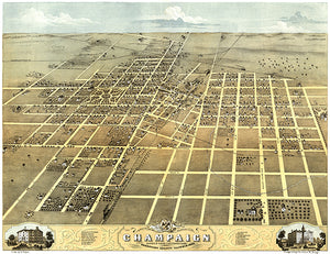 Champaign, Illinois - 1869 - Aerial Bird's Eye View Map Poster