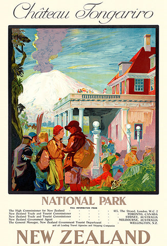 Ch��teau Tongariro - National Park, New Zealand - 1930's - Travel Poster