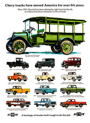 Chevrolet Truck Evolution - 1918-1982 - Promotional Advertising Poster