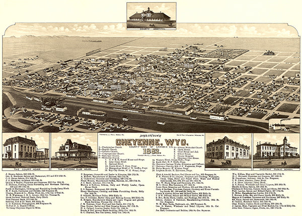 Cheyenne, Wyoming - 1882 - Aerial Bird's Eye View Map Poster
