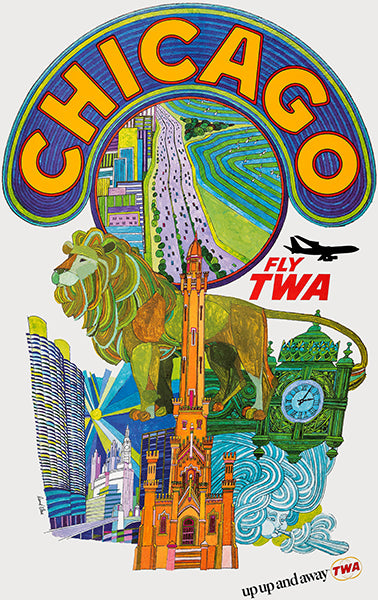 Chicago - Fly TWA - 1968 - Travel Poster Mug