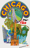 Chicago - Fly TWA - 1968 - Travel Poster Magnet