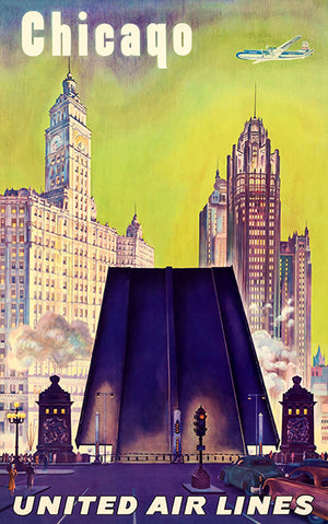 Chicago - United Air Lines - 1950's - Travel Poster