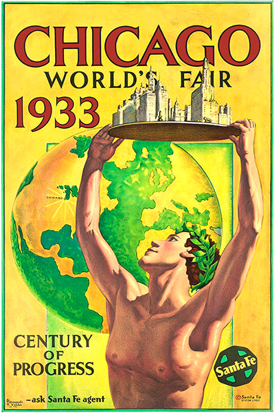 Chicago World's Fair - Santa Fe - 1933 - Promotional Advertising Poster