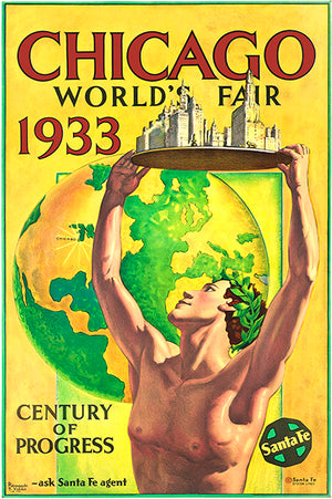 Chicago World's Fair - Santa Fe - 1933 - Promotional Advertising Magnet