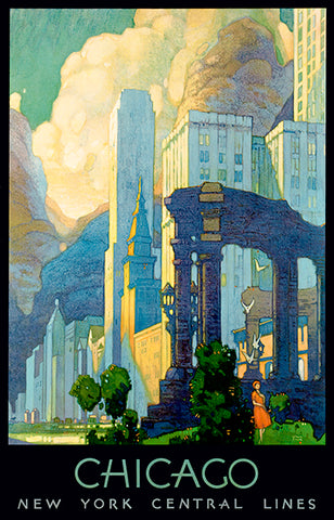 Chicago - Illinois - New York Central Lines - 1930's - Travel Poster
