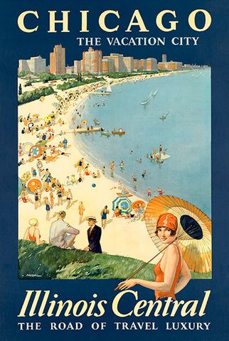 Chicago - The Vacation City - Illinois Central - 1930's - Travel Poster
