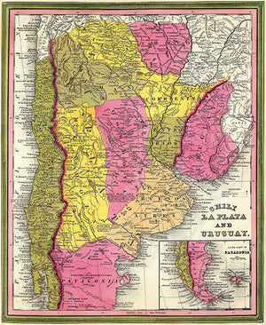 Chili, La Plata And Uruguay - 1846 - Map Poster