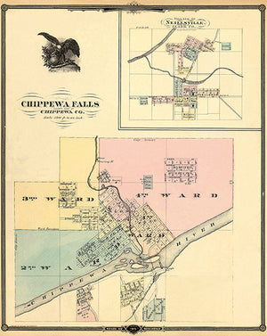 Chippewa Falls And Village Of Neillsville - Wisconsin - 1878 - Map Poster