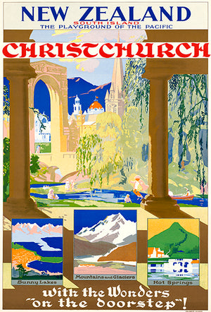 Christchurch - New Zealand - South Island - 1930's - Travel Poster