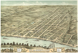 Clarksville, Tennessee - 1870 - Aerial Bird's Eye View Map Poster