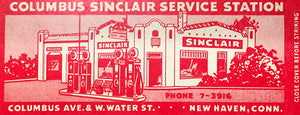 Columbus Sinclair Service Station - 1950's - New Haven CT - Matchbook Advertising Poster