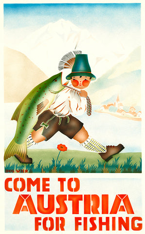Come To Austria For Fishing - 1930's - Travel Poster