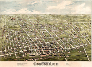 Concord, New Hampshire - 1875 - Aerial Bird's Eye View Map Poster