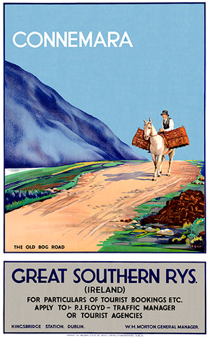 Connemara - The Old Bog Road - Ireland - 1930's - Travel Poster