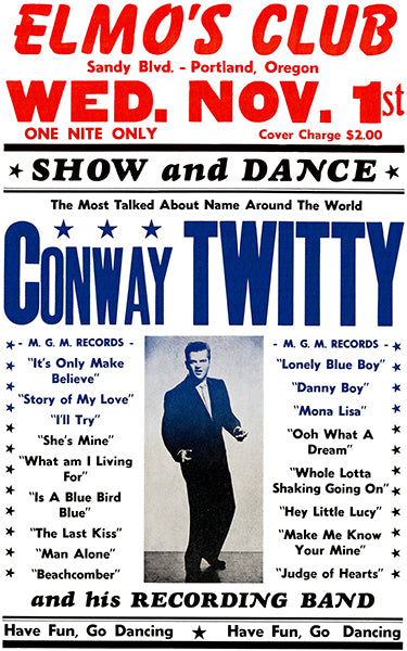 Conway Twitty - Elmo's Club - Portland OR - 1961 - Concert Poster