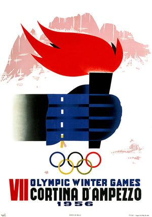 Cortina D'Ampezzo - VII Winter Olympic Games - 1956 - Advertising Poster