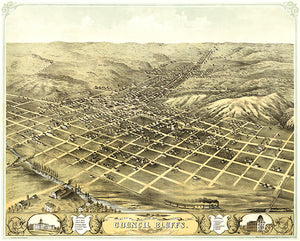 Council Bluffs, Iowa - 1868 - Aerial Bird's Eye View Map Poster