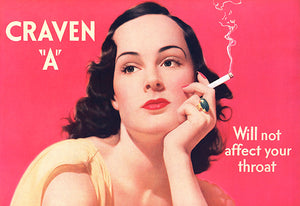 Craven A - WIll Not Affect Your Throat - Cigarette - 1939 - Advertising Poster