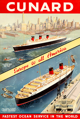 Cunard - Cruise Ship - Southampton To New York - 1930's - Travel Poster