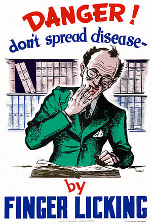 Danger! Don't Spread Disease By Finger Licking - 1950's - Health Poster