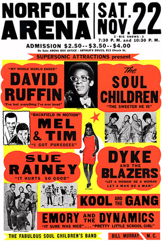David Ruffin - Cool & The Gang - Norfolk - 1969 - Concert Poster