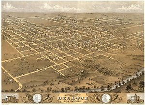 Decatur, Illinois - 1869 - Aerial Bird's Eye View Map Poster