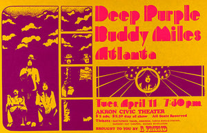 Deep Purple - Buddy Miles - 1972 - Akron OH - Concert Poster