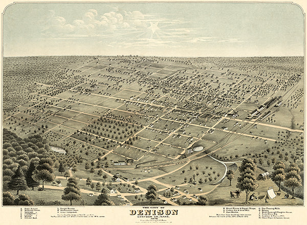 Denison, Grayson County, Texas - 1876 - Aerial Bird's Eye View Map Poster