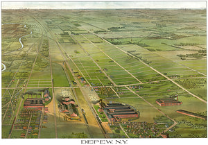 Depew, New York - 1898 - Aerial Bird's Eye View Map Poster