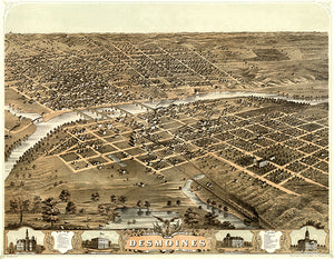 Des Moines, Iowa - 1868 - Aerial Bird's Eye View Map Poster