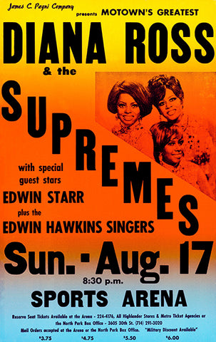 Diana Ross & The Supremes - Sports Arena - 1969 - Concert Poster