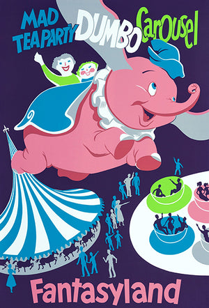 Disneyland - Mad Tea Party Dumbo Carousel - 1955 - Promotional Advertising Poster