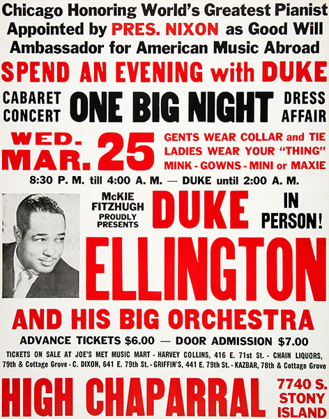 Duke Ellington - 1970 - Concert Poster