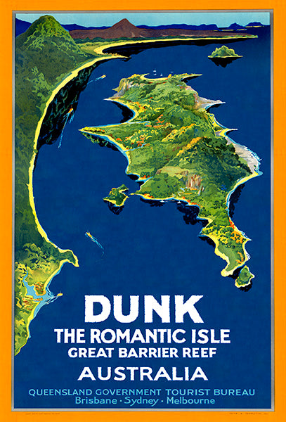 Dunk The Romantic Isle - Australia Queensland - 1930's - Travel Poster