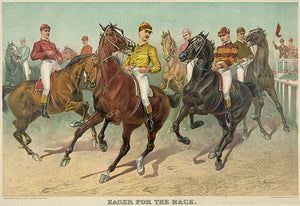 Eager For The Race  - 1893 - Horse Racing Magnet
