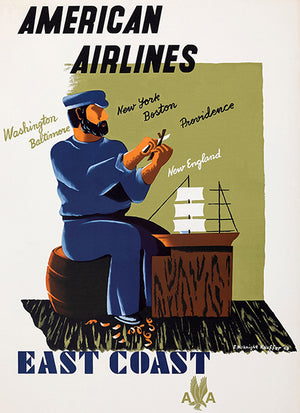 East Coast - American Airlines - 1948 - Travel Poster