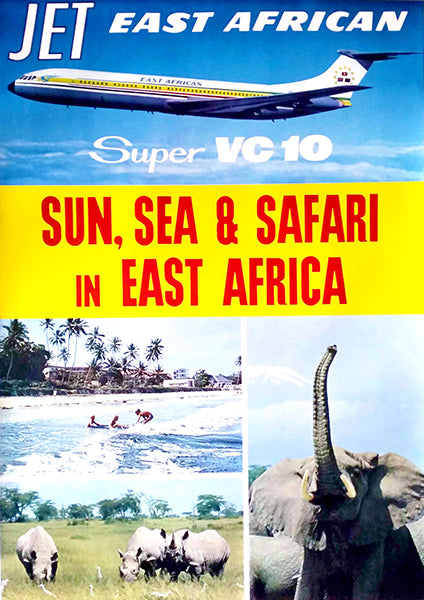 East African Airways - Sun, Sea & Safari - Super VC 10 - 1960's - Travel Poster