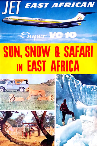 East African Airways - Sun, Snow & Safari In East Africa - Super VC 10 - 1960's - Travel Poster