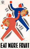 Eat More Fruit - Put Pep In Your Step - Victorian Railway - 1930's - Travel Poster