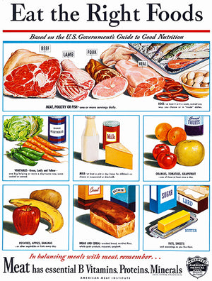 Eat The Right Foods - 1940's - Promotional Advertising Poster