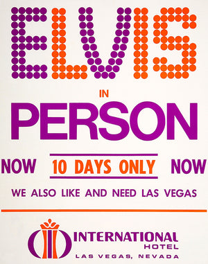 Elvis In Person - 1969 - Las Vegas NV - Concert Poster