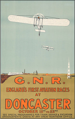 England's First Aviation Races - Doncaster - 1909 - Promotional Advertising Poster