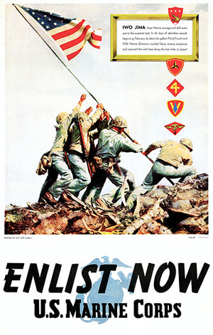 Enlist Now - US Marine Corps - Iwo Jima - 1945 - World War II - Propaganda Poster