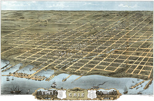 Erie, Pennsylvania - 1870 - Aerial Bird's Eye View Map Poster